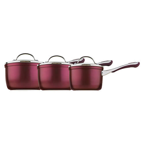 Prestige Prism 14cm, 16cm and 18cm saucepan set, Aluminium, Purple, 3 piece set