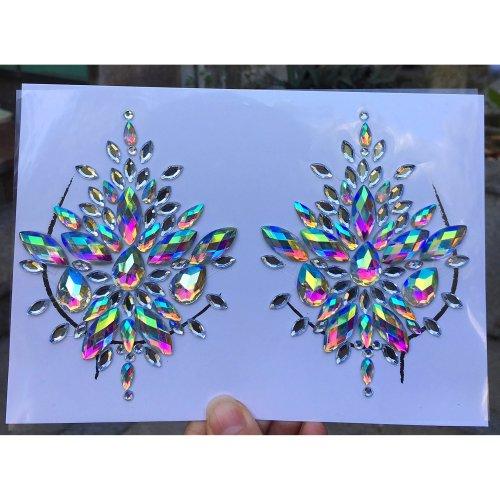 Body Gems Women Mermaid Rave Festival Glitter, Rhinestone Temporary Tattoo Body Face Jewels Crystals Body Face Stickers Eyebrow Face Body Jewelry...
