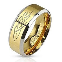 Tribal Design Inlay Gold Plated Two Tone Surgical Steel Band Ring