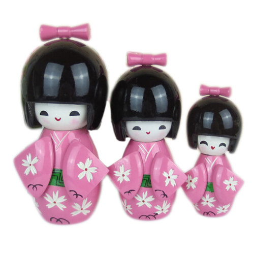 3 Pcs Lovely Japanese Kimono Girl Wooden Dolls With Cherry Blossoms, Pink