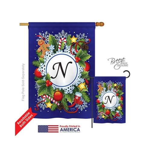 Breeze Decor 30092 Winter N Monogram 2-Sided Vertical Impression House Flag - 28 x 40 in.