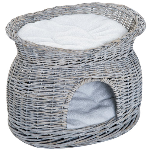 PawHu 2-Tier Elevated Pet Bed Basket Willow Cat Kitten Tower House Cave with washable Cushions