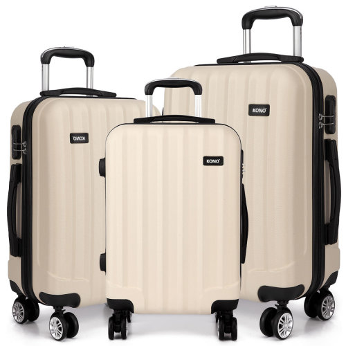 KONO Luggage Suitcase Trolley Case Travel Bag 4 Wheels Spinner Hard Shell ABS Beige 20 24 28 Inch Set