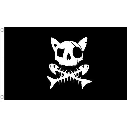 Cat pirate 3 logo Flag  Size: 5 x 3 FT ( 150cm x 90cm)