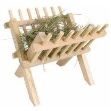 Trixie Free Standing Hay Manger, 26 × 23 × 17cm - Manger Rack Wooden Feeder Pet -  hay manger rack trixie wooden free standing feeder pet rabbit