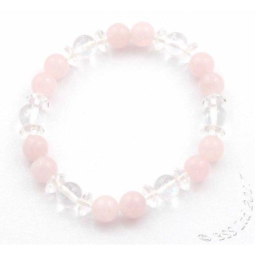 Rose Quartz and Clear Rock Crystal Gemstone Bracelet