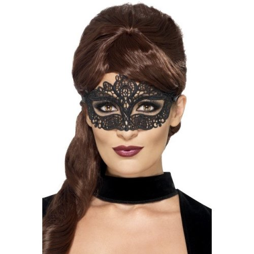 Smiffy's 44282 Embroidered Lace Filigree Eye Mask (one Size) -  lace eyemask embroidered fancy dress filigree black smiffys 44282