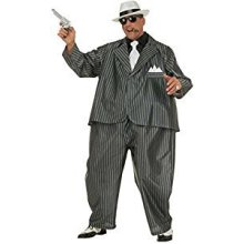 Mens Fat Gangster Costume For 20s 30s Mob Capone Fancy Dress