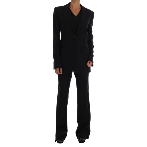 Dolce & Gabbana Black Wool Three Piece Suit