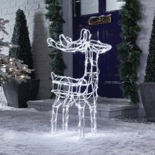 Premier Decorations - 70cm Mains Operated Indoor & Outdoor Acrylic Reindeer Christmas Figure - 90 Cool White LED Lights