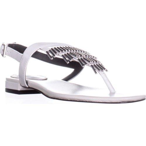 Calvin Klein Evonie Tassel Flat Sandals, Platinum White, 6 UK