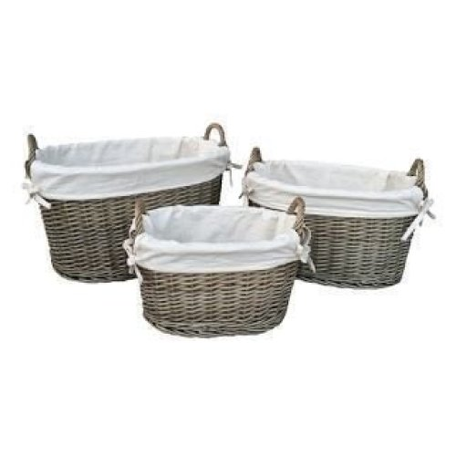 Small White Lined Antique Wash Oval Wicker Storage Basket