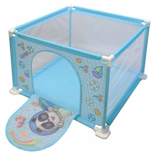 deAO Baby Ball Pit Safety Playpen Set with Balls (Blue Square)