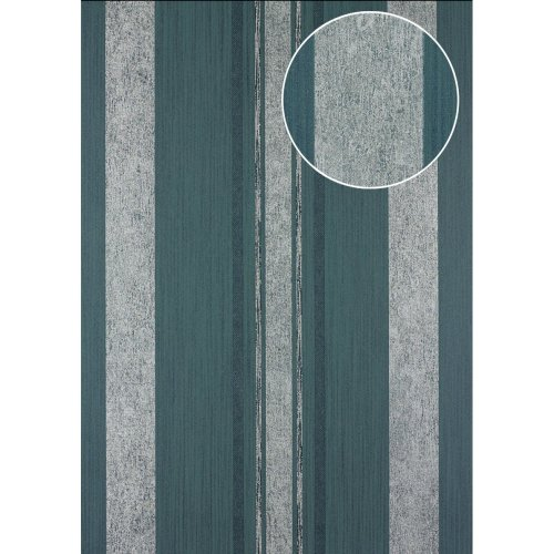 Atlas 24C-5059-3 Stripes wallpaper metallic highlights grey blue 7.035 sqm