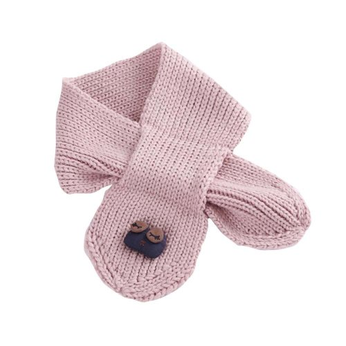 Cute Owl Knitted Baby Scarf Winter Neck Warmer-Pink