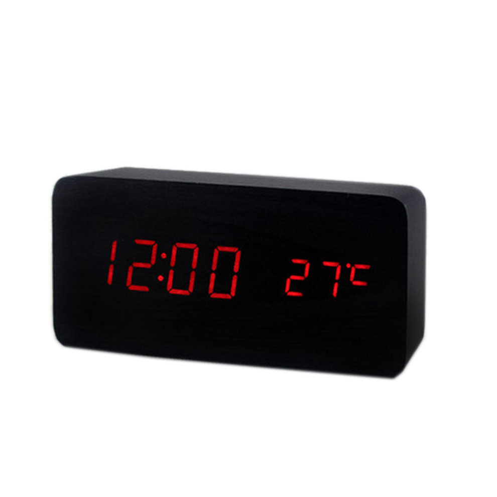 Black and Red Creative Wood Modern Alarm Clock With Temperature Function  Display