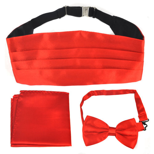 TRIXES Bow Tie and Hanky Set Red