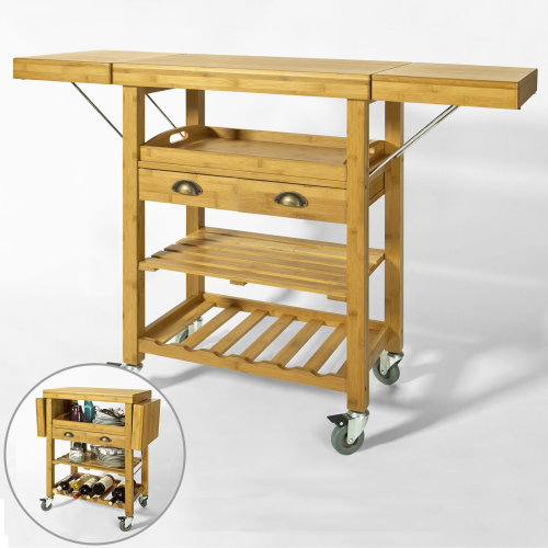 SoBuy® FKW25-N, Extendable Bamboo Kitchen Storage Trolley with 2 Folding Hinged Side Boards