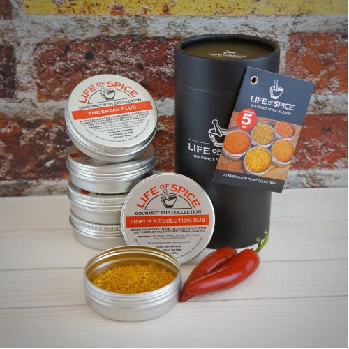 Life of Spice Street Food Rub Collection - The Satay Club, Fidel's Revolution Rub, Rub Me Long Time, The Brazilian and Montreal Canadien
