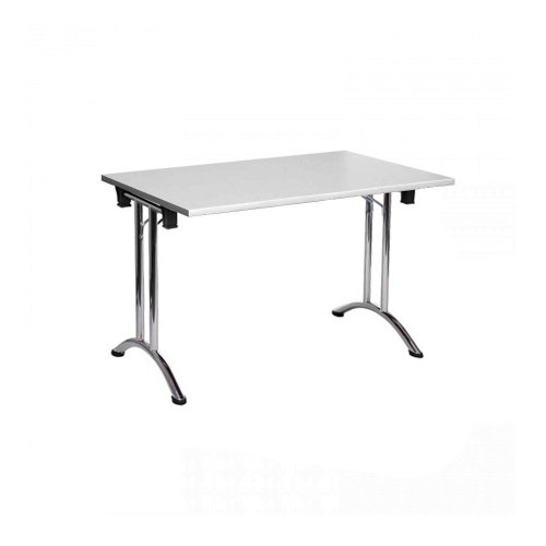 Folding Computer Desk Office Dining Table Workstation Gray Top Chrome Frame 120x80cm