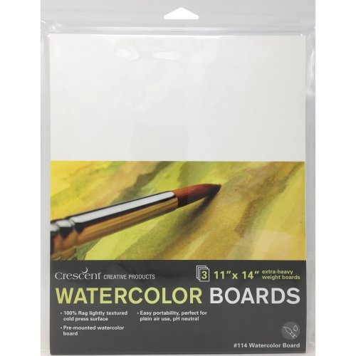 "Crescent Watercolor Board 3/Pkg-11""X14"" White"