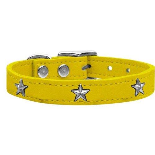Mirage Pet 83-69 Yw22 Silver Star Widget Genuine Leather Dog Collar, Yellow - Size 22