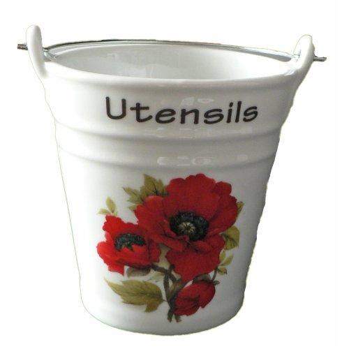 Poppy utensil holder. Fun bucket shaped ceramic utensil pot