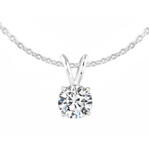 Natural G Vs2 0.75 Carat Diamond Ladies Pendant Necklace 14K White Gold