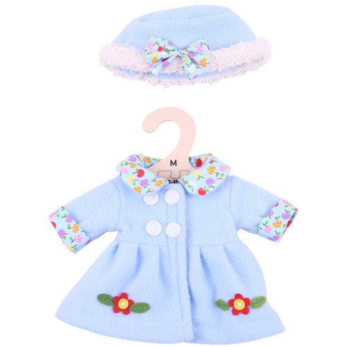 Bigjigs Toys Blue, Flowery Rag Doll Coat and Hat for 34cm Soft Doll - Suitable for 2+ Years
