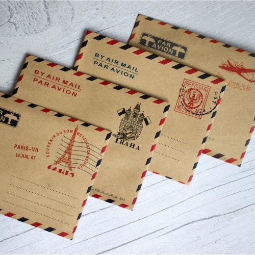 40pc Luck & Luck Mini Vintage 'Par Avion' Airmail Envelopes