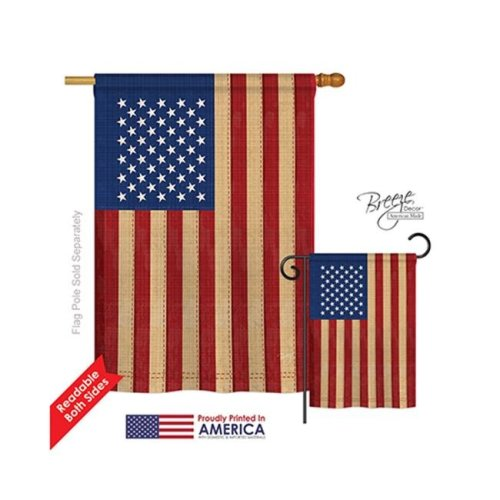 Breeze Decor 08029 Patriotic USA Vintage 2-Sided Vertical Impression House Flag - 28 x 40 in.