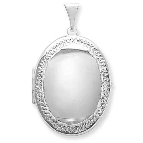 Childrens Sterling Silver Large Engraved Edge Oval Locket On A Curb Necklace