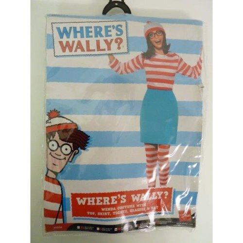 Medium Ladies Where's Wally? Wenda Costume -  wheres wenda costume fancy dress ladies womens outfit glasses licensed