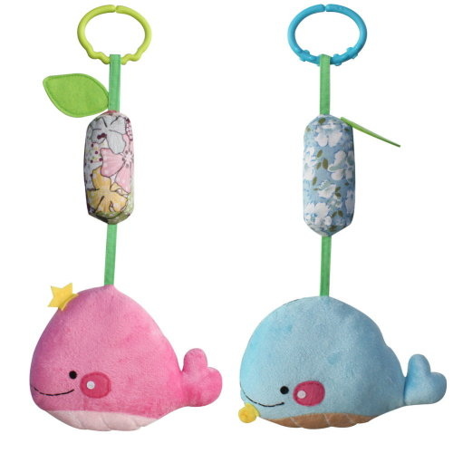 Handmade Hanging Plush Decor Stroller Toys [Pink and Blue Whale], 2PCS