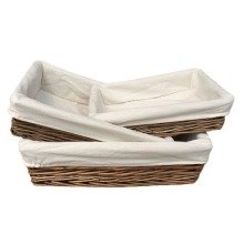 Lined Antique Wash Rectangular Straight-sided Wicker Tray Set of 3