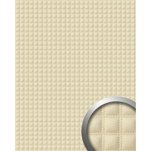 WallFace 14277 QUADRO Wall panel leather decor square wall cover cream 2.60 sqm