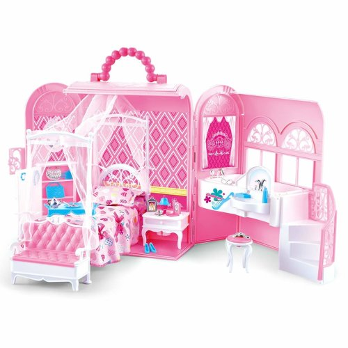 deAO 2-in-1 Pink Portable Carry Case Handbag and Dollhouse with Princess Deluxe Bedroom Furniture (Doll Not Included)
