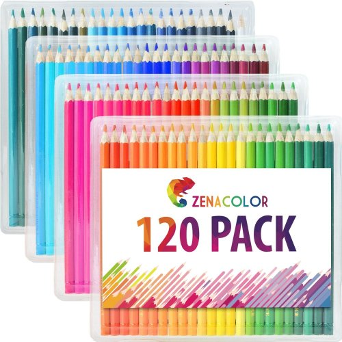 120 Colouring Pencils (Numbered) with Plastic Box by Zenacolor - 120 Unique  Coloured Pencils and Pre Sharpened Crayons for Coloring Book - Easy...