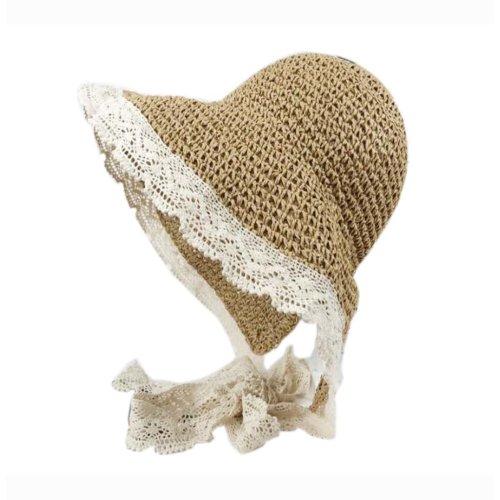 Womens Foldable Straw Hat Elegant Lace Edge Tied Visor for Girls Summer, Light Brown