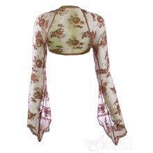 Ladies Brown Lace Bell Sleeve Bolero Size 6-30