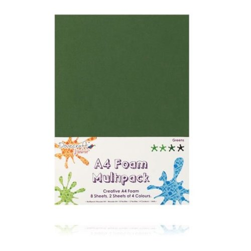 Dovecraft A4 Foam Sheets - 8 Sheets in 4 colours - Greens