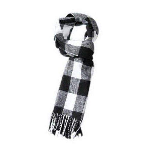 Classic Black White Plaid Style Winter Warm Scarf, Valentine's Day Gift For Mens