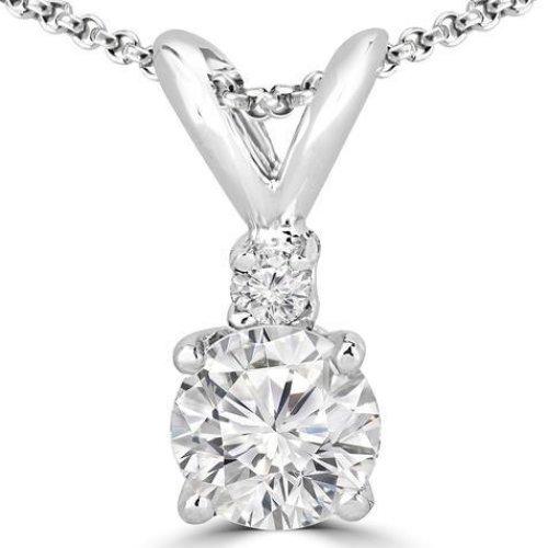 1 Carats Round Prong Set Diamond Pendant Necklace Gold White 14K