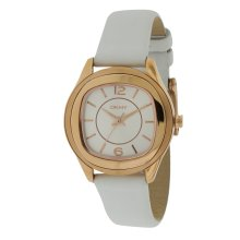 DKNY Rose Gold-Tone White Leather Ladies Watch NY8808