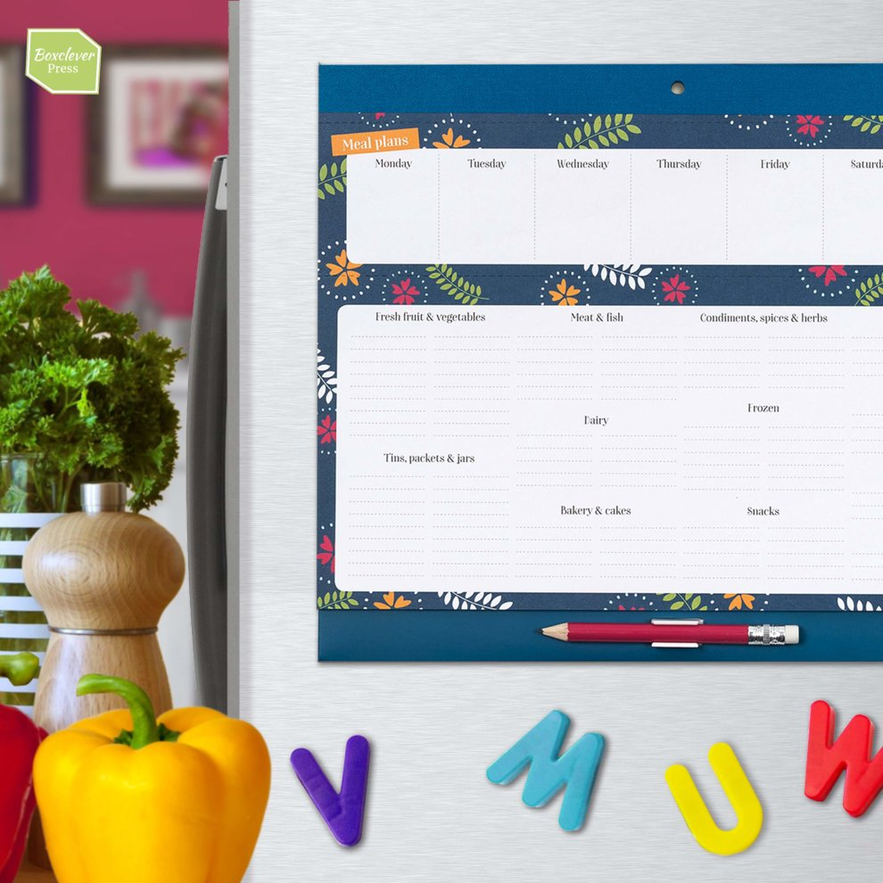 Boxclever Press Magnetic Fridge List /& Meal Planner Nearly A4 menu /& Perforated Shopping pad