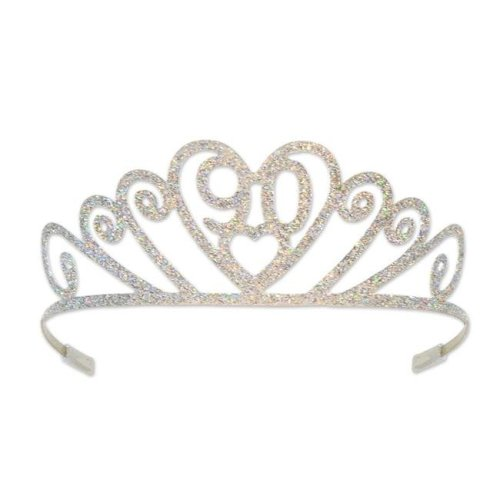 Beistle 60633-90 Glittered Metal 90 Tiara, White - Pack of 6