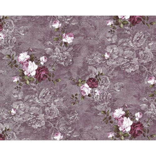 EDEM 9045-25 Flowers non-woven wallcovering violet aubergine-coloured 10.65 sqm