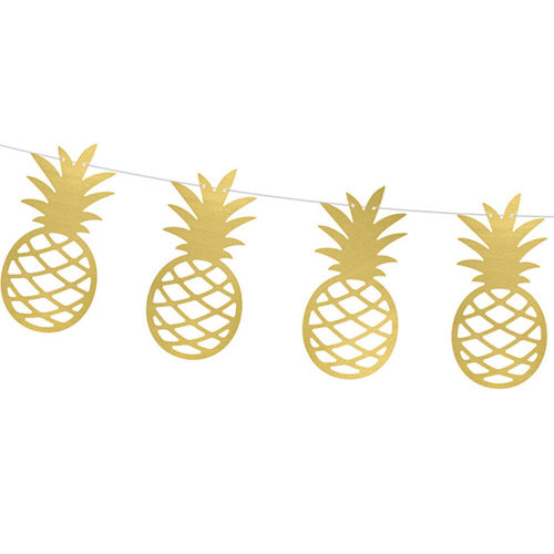 Gold Pineapple Paper Garland 2m Tropical Party Decoration