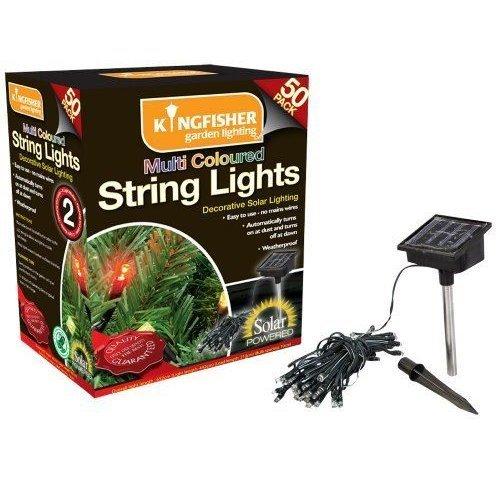 50 Multi Coloured LED Solar String Garden Outdoor Fairy Lights