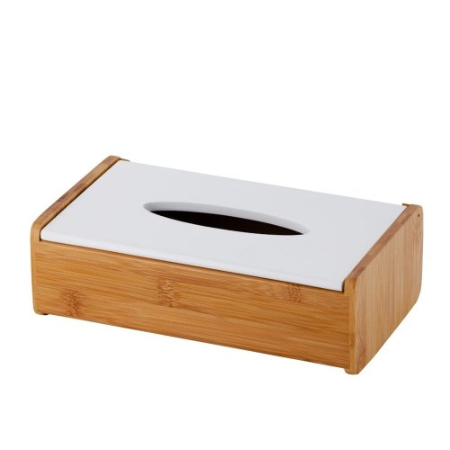 Tissue Box Holder White with Light Wood VORNAY